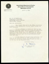 1954 J EDGAR HOOVER Autographed/Signed Department of Justice Letter FBI Director