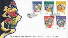 New Zealand NZ 2012 FDC Christmas 5v Set Cover Mary Joseph Jesus Angels Shepherd