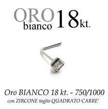 Piercing naso nose ORO BIANCO 18kt.con ZIRCONE naturale QUADRATO white GOLD 18kt