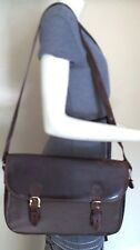 Vintage Brahmin Brown Leather & Canvas Briefcase