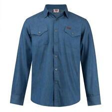 ✅ LEE COOPER Herren Hemd langarm Jeans Denim Gr.S-XXL Freizeit Long Shirt Navy