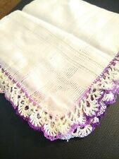 Vintage Purple White Hand Crocheted Womens Hankerchief Hanky