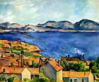 The Bay of Marseilles Blue Sea France Painting By Paul Cézanne Repro FREE S/H