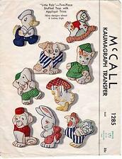 McCall Vintage 1946 Applique Sewing Pattern, Set of 9 Stuffed Toys, Repro Copy