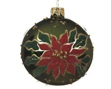 Poinsettia Round Glass Christmas Tree Bauble Xmas Decoration with Glitter Detail