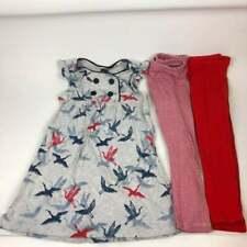 Tea Collection Girls Lot Sz 4 Dress & 2 Leggings Red White Blue Birds Outfit Set