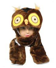 Plush Fleece Animal Hat OWL Big Eyes With Long Mittens