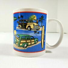 Woody Car Mug Hawaii Beach Theme Surf Boards Palm Trees  Coffee Tea Cup