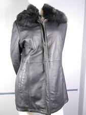 Wallis Ladies coat jacket leather detachable faux fur collar Size 14 Black VGC