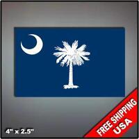 "Set of 2 South Carolina State Flag decals 4"" vinyl sticker Rebel"