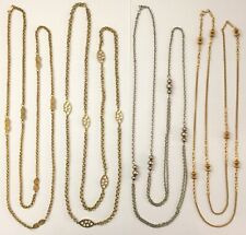Lot of 4 Vintage Long Chain Station Bead Necklaces~4pc Lot Gold/Silver Tone LONG
