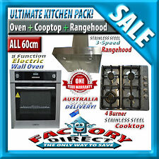 Kitchen Package 60cm Electric Wall Oven 4 Burner SS Gas Cooktop SS Rangehood