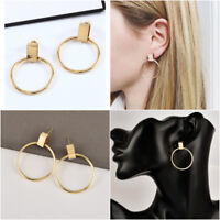 Big Circle Drop Ear Studs Korean Personality Punk Jewelry Statement Earrings 2Pc