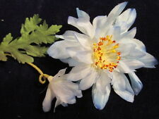 "Vintage Millinery Flower Hat 2 1/2"" Dahlia Light Blue for Hat Wedding Np4"