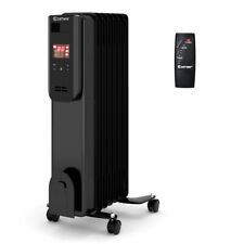 1500W Electric Oil Filled Radiator Heater LCD 7-Fin Timer w/Remote Control Home