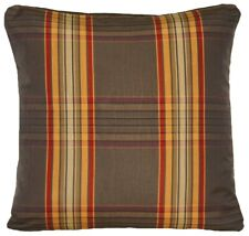 """Checks Cushion Cover Woven Taupe Red Orange Fabric Marvic Square 16"""""""