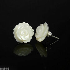 925 Sterling Silver White Mother of Pearl Camellia Flower Stud Earrings Women