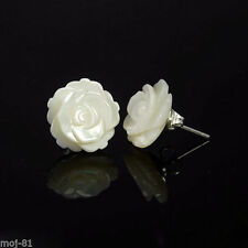 925 Sterling Silver White Mother of Pearl Camellia Flower Stud Earrings Gift A40