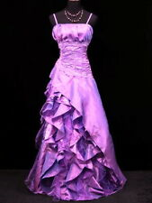 LONG STRAP LILAC SATIN LAYER EVENING PROM DRESS SEQUINS SCARF CHERLONE 14/16