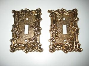 Two Amer. Tack & Howe 60T Metal 'Rose Trellis' Single Switch Plate Covers, 1967