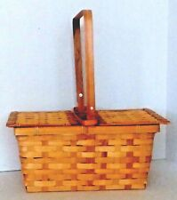 Bamboo Picnic Basket in Honey with Lid - Medium