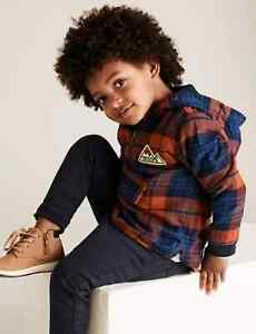 C6 BNWT M&S Boys Blue Orange Check Cotton Lined Hooded Shacket 5-6 Years