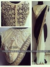 Bollywood Designer Party Wear Bridal  Black & Cream Color Half & Half  Saree