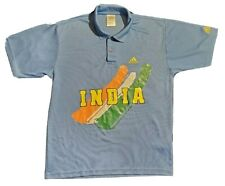 India Cricket World Cup Mens Polo Adidas BCCI Size Large Blue