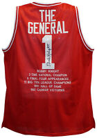 Bob Knight Autographed/Signed Indiana Hoosiers Red XL Stat Jersey BAS 26603
