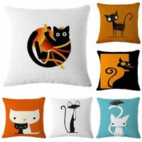 18'' Lovely Cat Linen Cotton Cover Home Sofa Decor Throw Pillow Case Cushion