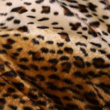 Brown & Cream Cheetah Print Velboa Short Pile Faux Fur Fabric (Per Metre)