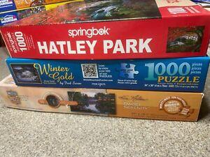 Lot of 3-White Mountain/Springbok 1000 Puzzle /Hatley Park /Winter Gold /Norlien