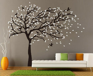 X-Large Birds Tree Branch Wall Stickers Vinyl Decals  UK RUI250