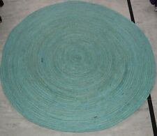Indian Hand Braided Bohemian turquoise colour Round Jute Area Rug Natural Floor6