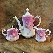 Lefton Heavenly Rose Tea/Coffee/Chocolate Pot W/Cream & Sugar Set/NICE!!