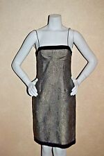 New $895 Hugo Boss 6 Derrilin Model Gold Lamé & Black Fingerprint Swirl Dress