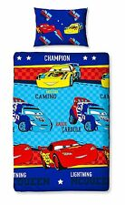 SINGLE BED DUVET COVER SET DISNEY CARS PISTON BLUE REVERSIBLE RED CHECKED YELLOW