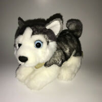 "Aurora Miyoni Tots Siberian Husky Soft Plush Stuffed Animal 9"" Gray White Dog"
