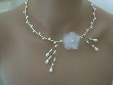 Collier Blanc Fleur p robe de Mariée/Mariage/Soirée perle style culture pas cher