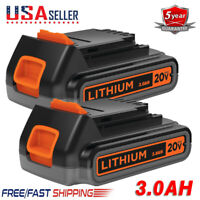 2X For Black&Decker 20V Max Lithium Battery 3.0Ah LBXR20 LBXR2020-OPE LBXR20B