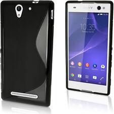 Nero S Line Gel Skin TPU Custodia per Sony Xperia C3 D2533 Case Cover Pellicola