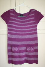 Girls Faded Glory Winter Sweater Dress Purple Metallic Stripes with Pockets