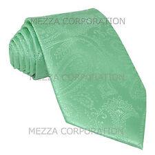 New Vesuvio Napoli polyester Men's necktie paisley wedding formal Aqua Green