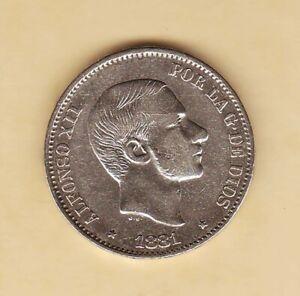 1881 SPAIN Philippines Alfonso XII 50 centimos de Peso , SILVER  coin