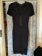 Wolford Bodycon Dress Black Ribbed Cotton/Merino Wool Blend  Size Small