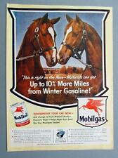 Original 1943 Mobil Ad RIGHT ON THE NOSE, MOTORISTS CAN GET 10% MORE IN WINTER