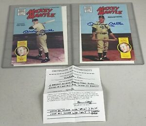 Mickey Mantle Magnum Comics Issue #1 & #2 Yankees Signed Autograph With COA RARE