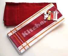 """KitchenAid Red White Tangerine Branded Towel and Solid Red Adastal Towel 17x28"""""""
