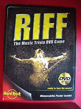 RIFF -HARD ROCK CAFE Music Trivia DVD Game w/ Guitar/Costume Memorabilia Poster