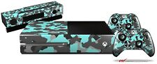 Old School Camouflage Camo Neon Teal Skin Set fits XBOX One Controllers